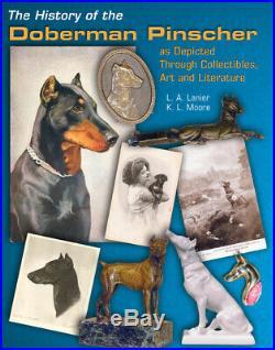 1920-1948 Hubley Doberman Pinscher Dog Doorstop Painted Cast Iron Black Rust USA