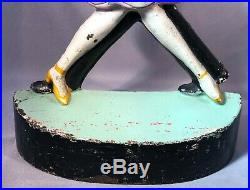 1920s CHARLESTON DANCERS Cast Iron DOORSTOP Art Deco Hubley FISH Rare ANTIQUE