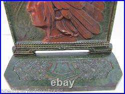 1920s INDIAN CHIEF Cast Iron Bookend Doorstop Art Statue Swirling Log Good Luck