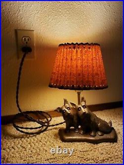 1930-40s Vintage Cast Iron Scotty Terrier Dogs Door Stop Lamp