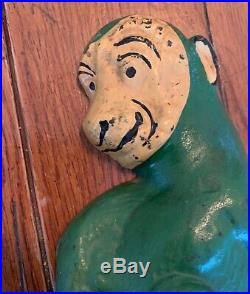 1930 Taylor Cook Cast Iron Original Paint Monkey Doorstop Antique Vintage