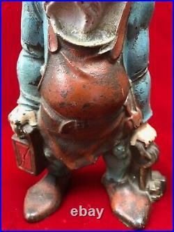 1931 Cast Iron Gnome with Lantern & Keys Doorstop Original Paint #83233 Nuydea