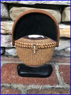 1991 Oak & Ivory Cast Iron Nantucket Basket Door Stopper with Sperm Whale #6/500