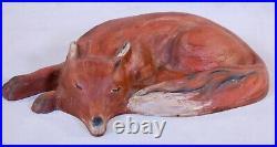 1993 Cast Iron Doorstop Sleeping Red Fox Virginia Metal Crafters Winterthur