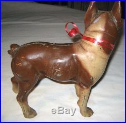 # 1 Premium Antique Hubley Brown & Cream Lg. Boston Terrier Cast Iron Doorstop