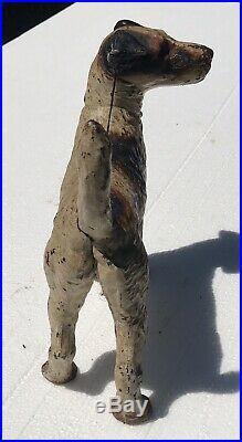 20th C Antique Hubley Wire Hair Fox Terrier Cast Iron Doorstop Original Paint