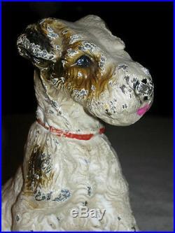 # 2 Solid Antique Hubley Cast Iron Fox Terrier Dog Art Statue Sculpture Doorstop