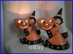 2 Vintage MCF Halloween Cast Iron Witch Black Cat Candle Holder Door Stop Rare