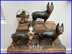 3 Awesome Antique Original Paint Boston Terrier Door Stops Cast Iron Dogs
