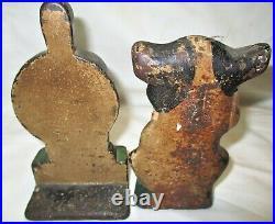 4 HUBLEY CHILDS ROOM DOOR CAST IRON TOY DOORSTOPS CAT DOG with BONE DUCK & STORK