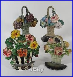 4 Small Antique HUBLEY Cast Iron Floral Flower Basket Doorstops, Original Paint