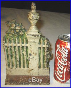 Antique Architectural Cast Iron Fence Post Flower Garden Doorstop Victorian Art