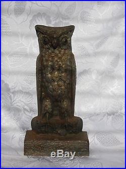 Antique Bradley Hubbard Cast Iron Owl Statue Doorstop B&h Rare L@@k