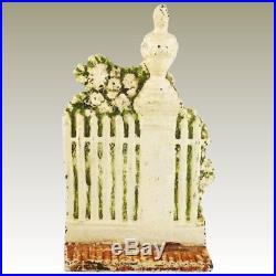ANTIQUE CAST IRON DOOR STOP WHITE GARDEN FENCE with ROSES BY SARAH SYMONDS