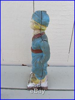 Antique Cast Iron Dutch Boy Full Figure Doorstop Great Face
