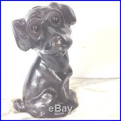 ANTIQUE CAST IRON Puppy Inkwell Doorstop Door DOG GLASS EYES STATUE 9 11lbs