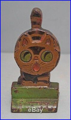 ANTIQUE CAT CAST IRON WEDGE CHILDREN'S HUBLEY DOORSTOP ART DECO CIRCA 1930's