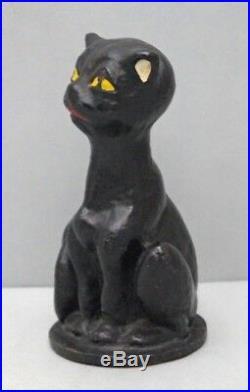 ANTIQUE CRAZY CAT CAST IRON DOORSTOP BLACK CAT CIRCA 1920's
