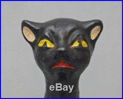 ANTIQUE CRAZY HALLOWEEN CAT CAST IRON DOORSTOP BLACK CAT CIRCA 1920's