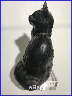 ANTIQUE HUBLEY # 302 WHITE SITTING PERSIAN CAT DOORSTOP Halloween witch black