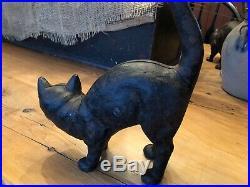 ANTIQUE HUBLEY BLACK CAT DOORSTOP CAST IRON vintage Halloween Arched Back Scared