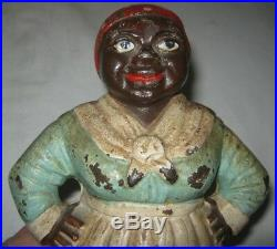 ANTIQUE HUBLEY MAMMY BLACK AMERICANA AUNT JEMIMA CAST IRON ART STATUE DOORSTOP g