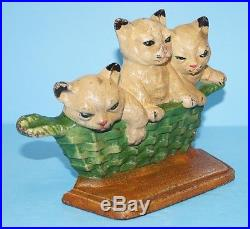 Antique Kittens Cats Basket Cast Iron Doorstop Lancaster Pa Dated 1932 Metal Art