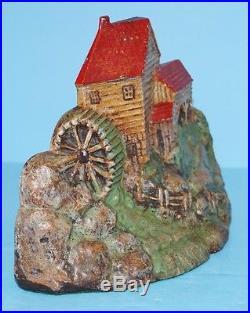 ANTIQUE RARE OLD GRIST MILL CAST IRON DOORSTOP METAL ART CIRCA 1920's