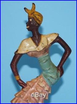 Antique Rhumba Dancer Cast Iron Doorstop Black Americana Memorabilia Circa 1920