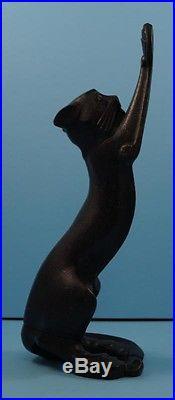 ANTIQUE STRETCHING BLACK CAT KITTEN CAST IRON DOORSTOP cMETAL ART CIRCA 1920's