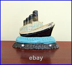 ANTIQUE TITANIC CAST IRON DOOR STOP SHIP OCEAN LINER BOAT NAUTICAL Rare Nice