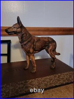 ANTIQUE VINTAGE Large 10 Cast Iron GERMAN SHEPHERD DOG DOORSTOP