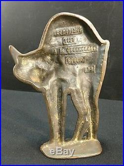 A M Greenblatt Studios Cast Iron Scary Cat Art Statue Antique Doorstop X Rare
