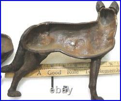 Aantique Hubley Cast Iron Police Guard Dog German Shepard Gun Statue Doorstop