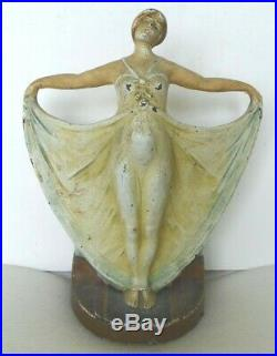 All original antique 1940's cast iron cjo 1251 Deco Girl doorstop, 3D Full body