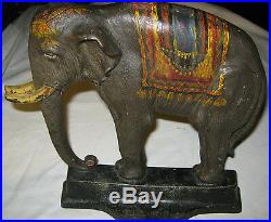Antique # 12 Davison Bradley Hubbard Elephant Cast Iron Statue Doorstop Hubley