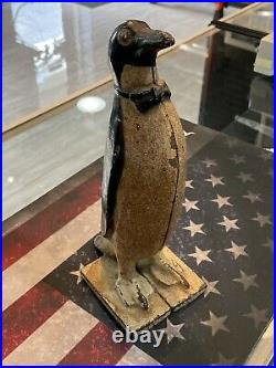 Antique 1920 Littco USA Full Figured Cast Iron Penguin Original Paint Doorstop