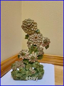 Antique 1920s LVL Flowers Decorative Art Cast Iron Doorstop Lula Verharen Lavell