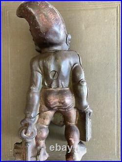 Antique 1930's cast iron gnome elf doorstopper doorstop
