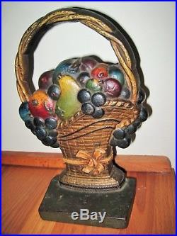 Antique 1930s Cast Iron CJO Door Stop Fruit In French Basket All Original Paint