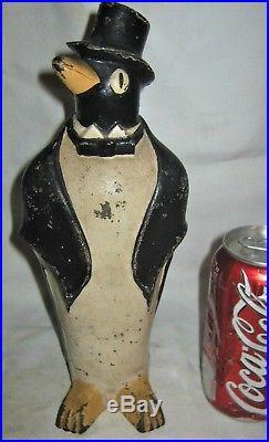 Antique # 463-f Hubley Toy Co. USA Cast Iron Sea Ice Penguin Art Statue Doorstop
