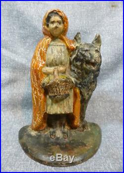 Antique Albany Foundry #94 Red Riding Hood with Wolf Cast Iron Doorstop