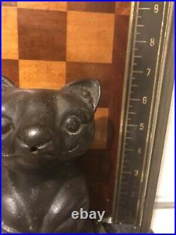 Antique Albany Foundry Cast Iron Black Cat Doorstop String Holder