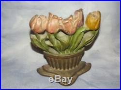 Antique Albany Foundry Flower Garden Tulip Basket Cast Iron Door Doorstop Statue