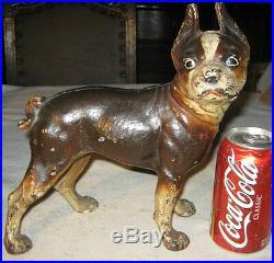 Antique Albany Foundry Heavy Cast Iron Boston Terrier Dog Statue Door Doorstop