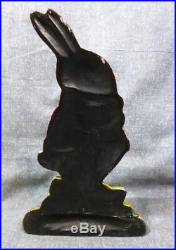 Antique Albany Foundry Rabbit In Sweater Eating Cabbage Cast Iron Doorstop