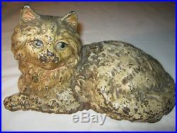 Antique American USA Hubley Fire Side Cast Iron Cat Art Statue Hearth Doorstop