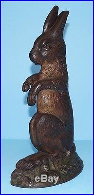 Antique Begging Rabbit Cast Iron Metal Art B&H Doorstop Bradley and Hubbard