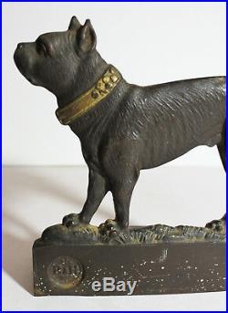 Antique Boston Terrier Dog Cast Iron Bookends Bradley Hubbard 1926 or Doorstops