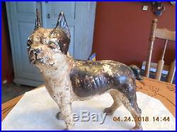 Antique Boston Terrier Dog Cast Iron DoorStop, Rare Left Facing Head